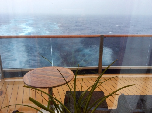Monday 14t April, view from Cabin looking aft... sea 'lumpy'