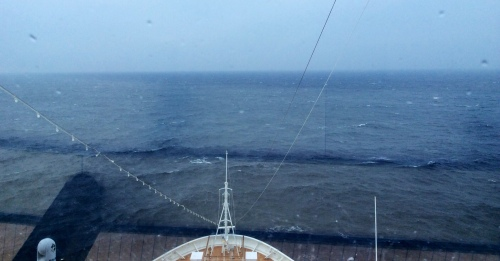 Monday 14th April..view from the bow...Seas 'lumpy', weather wet and cold.