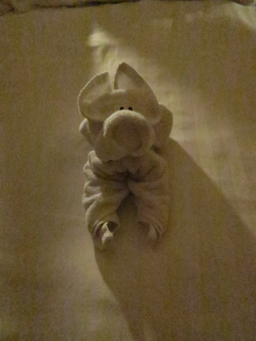 A 'towel' sculpture, one of which is left on the bed each night.
