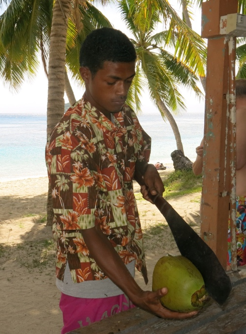 Chopping the Coconut